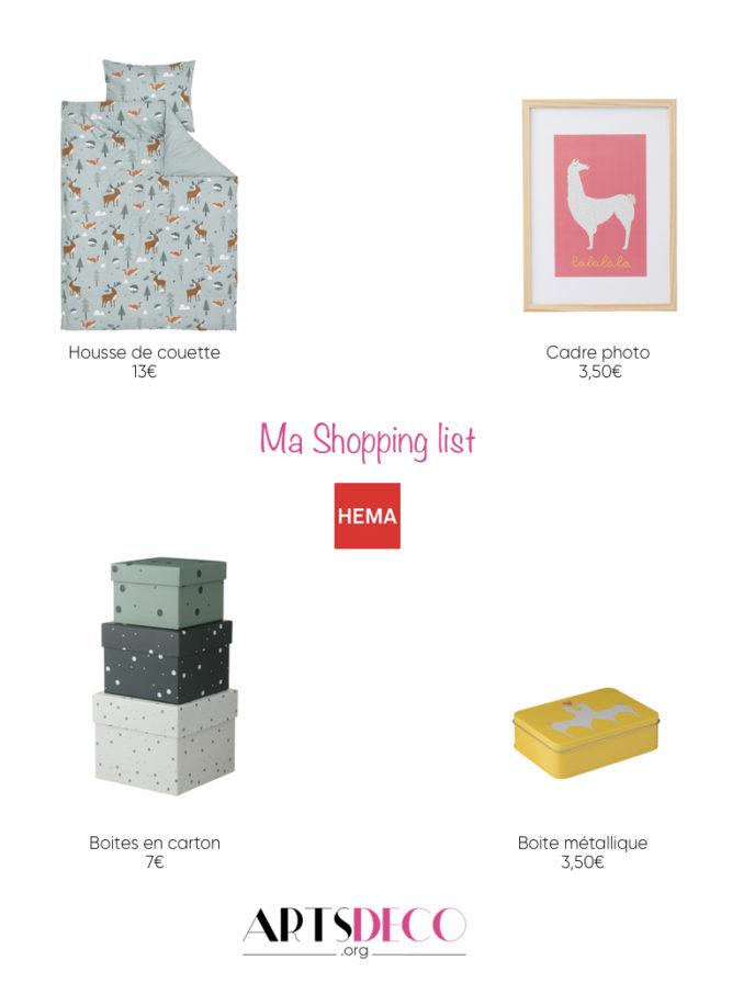 shopping list Hema