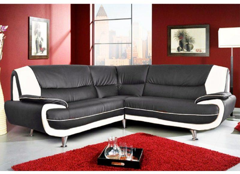 canapé d'angle pvc noir et blanc