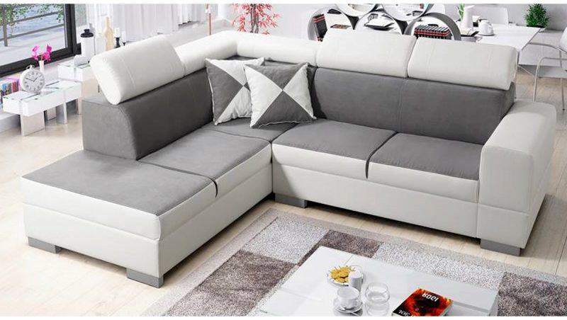 canapé d'angle en tissu gris et pvc blanc